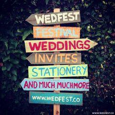 Festival Weddings - Vintage Wooden Wedding Sign | WED FEST