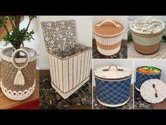 Jute Crafts, Rope Basket, Flower Pots, Diy Flower, Straw Bag, Storage Baskets, Macrame, Decoupage, Recycling