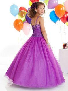 Purple pageant dress for little girls