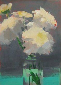 """Chrysanthemums in The Green 7""""x5"""" acrylic"""