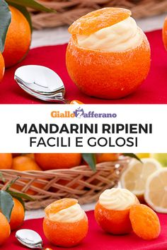 Mandarini ripieni Stuffed mandarins are a perfect dessert to bring to the table for the holidays: the mandarins are emptied and stuffed with a cream made with tangerine pulp and cream! Cake & Co, Wonderful Recipe, Cooking Instructions, Dessert Table, Italian Recipes, Catering, Cake Recipes, Easy Meals, Food And Drink