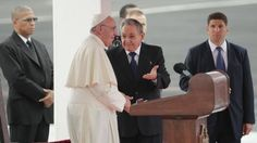 https://flic.kr/p/yQvEVZ | Cuba Pope | Pope Francis stands with Cuba's President Raul Castro during his arrival ceremony at the airport in Havana, Cuba, Saturday, Sept. 19, 2015. Pope Francis begins a 10-day trip to Cuba and the United States on Saturday, embarking on his first trip to the onetime Cold War foes after helping to nudge forward their historic rapprochement. (AP Photo/Ramon Espinosa)