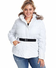 Dollhouse Plus Size Faux-Fur Hooded Belted Puffer Coat - Plus Size Coats - Plus Sizes - Macy's - white - size 3x