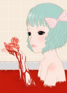 Image via We Heart It https://weheartit.com/entry/117251620 #animegirl #bath #blood #bloodbath #duck #emo #gore #goth #grunge #pastel #rubberduck #softgrunge #pastelgoth #gothicpastel