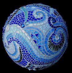 Mosaic Orb Blue Garden Sphere Glass Terracotta Gazing Ball.