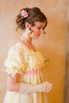 Organza Regency Jane Austen Ball gown Empire formal Dress Ready-Made in yellow $184.95