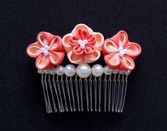 梅の花寄せパールコーム  サーモンピンク - 餡蜜優花