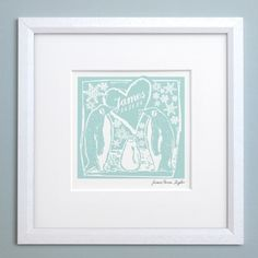 Personalised Woodcut Penguin Print. Celebrate the arrival of a winter baby with this woodcut style art print. Personalised with a name and birth date. Letterfest.com