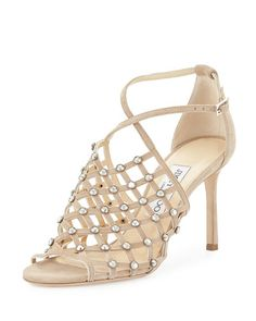 S0F5E Jimmy Choo Donnie Crystal Caged Sandal, Nude