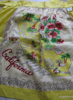 California state map + red California poppies..... [Apron]