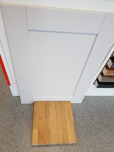 Our chosen kitchen unit/worktop combination: Howdens Fairford dove grey with solid oak worktop