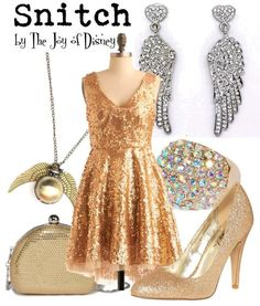Snitch inspired. ahh if only I had a gold dress this would be fun!