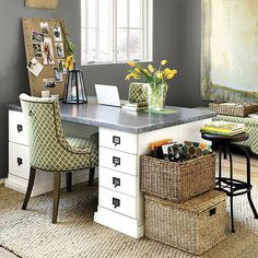 Original Home Office™ 4-Drawer Cabinet--adapt wood 2-drawer file cabinets to make this desk.