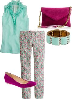 """""""Liberty Pink and Mint"""" by caseylovesjcrew ❤ liked on Polyvore"""
