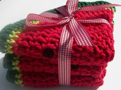 On Sale Watermelon Patch Crochet Dishcloths / Set by HeavensDesign