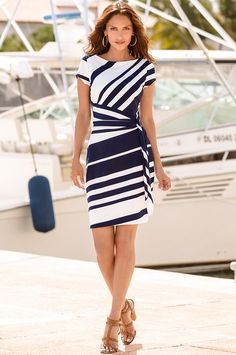 Boston Proper Stripe knot sheath dress