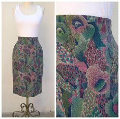 Vintage 80s peacock skirt / high waisted rayon print skirt / by dahlilafound