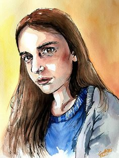 Anna's portrait, watercolour and ink by Giulia Gatti Portrait Watercolour, Watercolor Paintings, Damask Rose, Gray Eyes, Red Earrings, Watercolor And Ink, Watercolors, Daughter, Princess Zelda