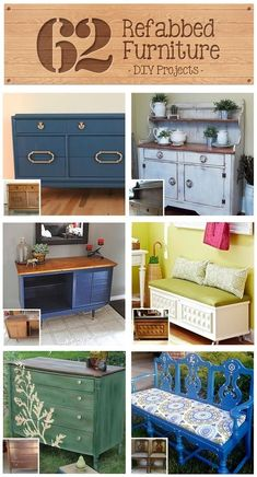 62 Refabbed Furniture Projects, curated by Recaptured Charm featured on Funky Junk Interiors.