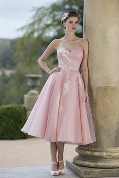 Strapless Sweetheart Satin Bodice A-line Pink Organza Bridesmaid Dress with Lace Appliques