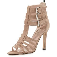 SJP by Sarah Jessica Parker Lola Strappy Suede Sandal ($480) ❤ liked on Polyvore featuring shoes, sandals, beige, stilettos shoes, heels stilettos, strap sandals, high heel shoes en high heel sandals