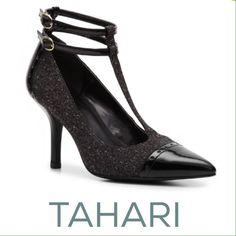 """TAHARI Brianna T-Strap Heels Put a stylish foot forward in the Tahari Brianna! This double """"T"""" strap pump is stylish and right on trend. Gently preloved and in great condition!  Fabric upper with patent trim, Double ankle straps with adjustable buckles, Pointed cap toe, 3½"""" covered heel, Synthetic sole, Imported Tahari Shoes Heels"""