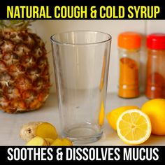 This all natural, homemade cough syrup is just what you need for winter colds and flus. With nourishing ingredients and all pineapple, it naturally helps with cough and dissolves mucus. Keep ingredients for this natural remedy on hand all winter long. Natural Hemroid Remedies, Natural Add Remedies, Natural Remedies For Migraines, Cold And Cough Remedies, Herbal Remedies, Natural Treatments, Cold Remedies Fast, Home Remedies For Cold, Cough Suppressant Home Remedies