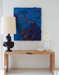 Zhu Jinshi's Wave of Stone hangs in the living room of powerhouse gallery owner Dominique Lévy and movie producer Dorothy Berwin's Hamptons home | archdigest.com