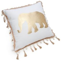 Elise  James Home  White Twine Tassel Gold Elephant Decorative Pillow ($25) ❤ liked on Polyvore featuring home, home decor, throw pillows, white, white toss pillows, whimsical home decor, tassels home decor, gold throw pillows and white throw pillows