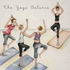 "Cards ""The Yoga Balance"" - Berni Parker Designs ღ✟ Yoga Art, My Yoga, Paz Hippie, Funny Cards, Friends Forever, Old Women, Getting Old, Cute Art, Yoga Fitness"
