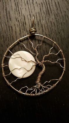 Full Moon Wire Wrapped Tree of Life Pendant