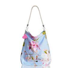 f5543f713bf9f Letnia, kwiecista torba- worek handmade wykonany z polskiej bawełny.  Stylowe kwiaty na błękitnym