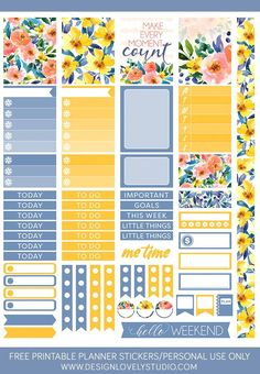 Grab these FREE printable floral planner stickers! To Do Planner, Passion Planner, Free Planner, Planner Pages, Happy Planner, Teacher Planner, Freebies, Journal Stickers, Printable Planner Stickers