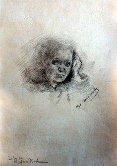 """Olga Boznańska """"Portret kobiety"""", 23/XII/30, ołówek na papierze, 36,5 x 26,5 cm, własność prywatna"""