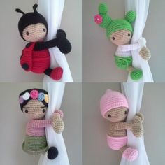 child room Dolls Curtain Tieback Baby girl - Baby boy - Ladybug - Cactus - Baby Lamb - Snowman - Sweet baby - Gingerbread - BabyPanda Tiebacks, curtain tie backs is the perfect touch for th Crochet Patterns Amigurumi, Crochet Dolls, Crochet Baby, Baby Lamb, Baby Boy, Crochet Curtains, Baby Girl Dolls, Curtain Tie Backs, Crochet Animals