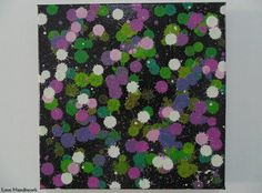 White Green & Purple on Black Abstract Square by LoveHandyWork Black Abstract, Abstract Paintings, Green And Purple, Etsy Shop, Color, Art, Art Background, Colour, Kunst