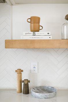 White Herringbone Tiles Kitchen | Fireclay Tile | Fireclay Tile Kitchen Tiles, Kitchen Decor, Kitchen Cabinets Grey And White, White Brick Tiles, Herringbone Tile Pattern, The Kinfolk Table, New Bathroom Designs, Fireclay Tile, Tile Trim
