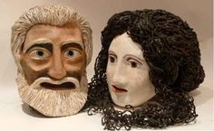 KA - Ancient Greek Theater Masks- Often times human hair was used in the creation of masks.