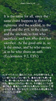 It is the same for all, since the same event happens to the righteous and the wicked, to the good and the evil, to the clean and the unclean, to him who sacrifices and him who does not sacrifice. As the good one is, so is the sinner, and he who swears is as he who shuns an oath.(Ecclesiastes 9:2, ESV)9:2すべての人に臨むところは、みな同様である。正しい者にも正しくない者にも、善良な者にも悪い者にも、清い者にも汚れた者にも、犠牲をささげる者にも、犠牲をささげない者にも、その臨むところは同様である。善良な人も罪びとも異なることはない。誓いをなす者も、誓いをなすことを恐れる者も異なることはない。 (口語訳)