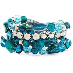 Color Craze® Turquoise-Colored Shell Bracelet Turq ($8) ❤ liked on Polyvore