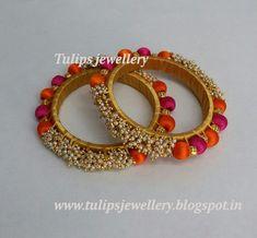 Silk Thread Bangles Design, Silk Thread Necklace, Beaded Necklace Patterns, Thread Jewellery, Textile Jewelry, Kundan Bangles, Silk Bangles, Bridal Bangles, Mehndi Designs For Hands