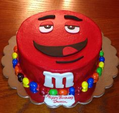 M&M Party Invitations | Red M&M Birthday Cake