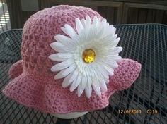 crochet girls hat with flower by smileyface21 on Etsy, $15.00