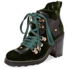 Isa Tapia Women's Sage Velvet High Heel Bootie - Green, Size 36.5 ($379) ❤ liked on Polyvore featuring shoes, boots, ankle booties, green, high heel bootie, green booties, laced up boots, sage green boots and ankle boots