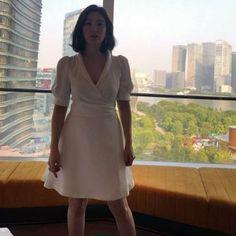 Song Hye Kyo Style, Wrap Dress, Mac, High Neck Dress, Celebs, Actresses, Shanghai, Korean, Fashion