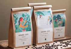 packaging design Showcase and discover creative work on the world's leading online platform for crea Rice Packaging, Food Packaging Design, Coffee Packaging, Coffee Branding, Packaging Design Inspiration, Brand Packaging, Branding Design, Chocolate Packaging, Bottle Packaging