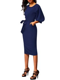 Blue Puff Sleeve Belt Knee-Length Chiffon Pencil Dress