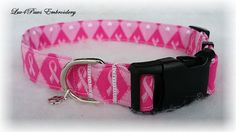 "Pink Ribbons in Diamonds ""Breast Cancer Awareness"" adjustable collar. There are white hearts but on the 1"" inch collar they show on the back side of the collar. Prewashed quality fabric, heavy weight interfacing and a curved nylon acetate buckle was used to make this collar. A small charm is included. by Luv4PawsEmbroidery on Etsy"