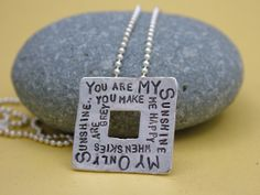 You are my sunshine...Hand stamped sterling pendant available at www.jewelryforthesoul.com Happy A, You Make Me Happy, You Are My Sunshine, Hand Stamped, Dog Tag Necklace, Bird, Pendant, My Style, Pretty