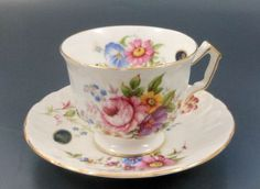 Aynsley China Tea Cup & Saucer Rose Bouquet Made in England Floral Yes Ii'll have a scone